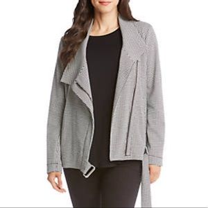 Karen Kane houndstooth Moto Jacket Black white
